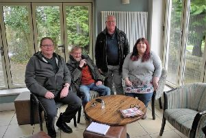 (From left) Richard Sims, Phil Glover, Jack Nadin, and Sue Hawkins of the Burnley Mining Memorial Fund.