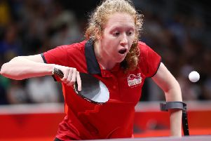 GOLD COAST, AUSTRALIA - APRIL 12: Felicity Pickard of England competes in the Women's TT6-10 Singles Group 1 games against Maitreyee Sarkar of India during Table Tennis on day eight of the Gold Coast 2018 Commonwealth Games at Oxenford Studios on April 12, 2018 on the Gold Coast, Australia. (Photo by Jono Searle/Getty Images)