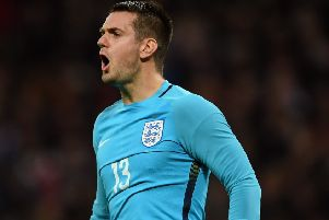 LONDON, ENGLAND - NOVEMBER 15:  Tom Heaton of England shouts during the international friendly match between England and Spain at Wembley Stadium on November 15, 2016 in London, England.  (Photo by Shaun Botterill/Getty Images)