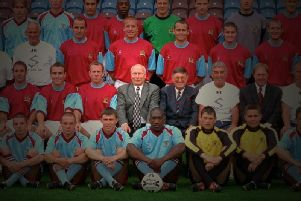 Former director Bob Blakeborough pictured with Stan Ternet's Clarets squad