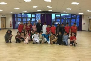 The students following their performance.