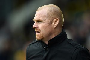 Burnley manager Sean Dyche in action.
