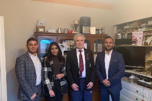 Harry Jones, 24|7 recruitment manager, Safiya Shafqat, 24|7 marketing assistant, veteran Harry Toothill and Kayam Iqbal, founder of The OppO Foundation and OppO Recruitment.