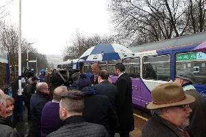 Transport Secretary Chris Grayling MP meets Andrew Stephenson MP and local campaigners at Colne Station on Saturday