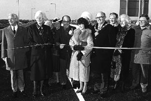 Blackpool link road, watched by civic officials in 1986. The road follows the old railway line to the site of Central Station and is named after Lancashire County Council surveyor Harry Yeadon (far left), it was opened on the 3rd January 1986. Louise Ellman in light coloured coat