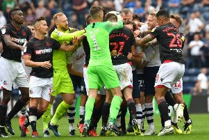 Preston and Bolton players clash at full-time earlier this month