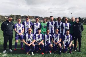 Burnley Belvedere line up in their new kit, sponsored by the Original Glow Stars Company