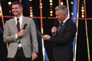 James Anderson is interviewed on stage by Gary Lineker during the BBC Sports Personality of the Year 2018 at Birmingham Genting Arena. PRESS ASSOCIATION Photo. Picture date: Sunday December 16, 2018. See PA story SPORT Personality. Photo credit should read: David Davies/PA Wire
