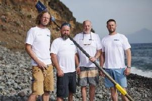 The Atlantic Seamen, AKA Jon Davis, Alex Fawcett, Andy Grant and Andrew Berry, have rowed 3000 miles in storms across the open ocean in aid of The Urology Foundation. (s)