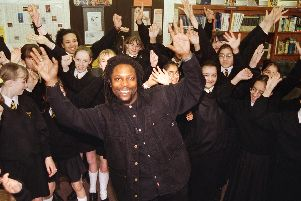 Poetry with a difference from Levi Tafari as he performs with the children of Christ the King RC High School, Frenchwood, Preston