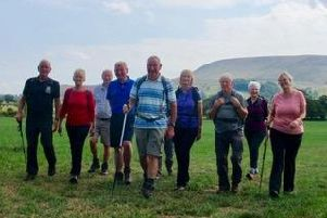 Roger Sagar leading the way with fellow Clitheroe Ramblers