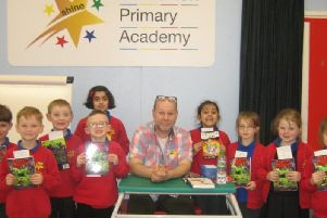 Casterton Primary Academy students with author Ian Billings.