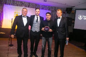 Club chairman Mike Garlick, disability development manager Lewis Rimmer, Special Recognition award winner Amaan Khan and host Alastair Campbell.