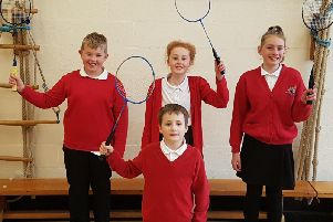 The victorious badminton team from Earby Springfield Primary School are: ( back row) James Maybury ( 10) Rosie Hill (10,) Leah Jarvis (11).  Front Seth Rawlinson (eight).