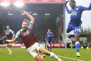 Charlie Taylor is brought down by Wilfred Ndidi against Leicester - but no penalty was given