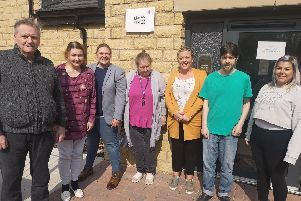 (From left): Tenants Peter Cowgill and Madeline Cooke, registered manager Susanne Horsley, tenant Claire Grime, team leader Katie Sullivan, tenant James Bevington, and support worker Nikita Greenwood.