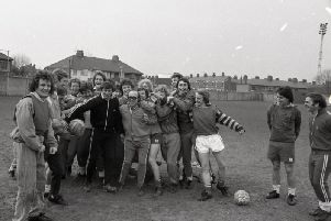 Preston North End manager Nobby Stiles celebrates with the players at the Lowthorpe Road training ground