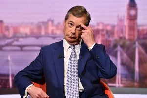 Career politician and Brexit Party leader, Nigel Farage, on The Andrew Marr Show.