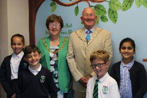 Mayor of Burnley Anne Kelly with her consort John and pupils at St James' Lanehead CE Primary School. (s)