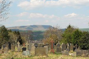 The churchyard overlooking Pendle Hill