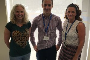 Fiona Maudsley of the FRVF with Dave Motley and Rachel RIchardson, Neighbourhood Specialists at Onward in Clitheroe.