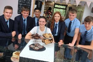 Hannah Greenwood with the Alder Grange students