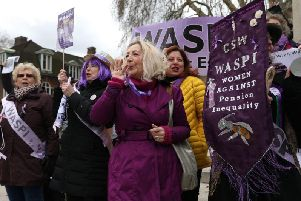 A WASPI protest outside the Houses of Parliament in central London earlier this year. Photo: ISABEL INFANTES/AFP/Getty Images.