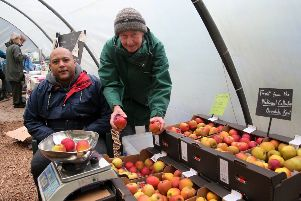 Martin Stokes put apples on the scales for Michael Kay.' Martin brought along 12 varieties of heritage apples for people to try and buy.