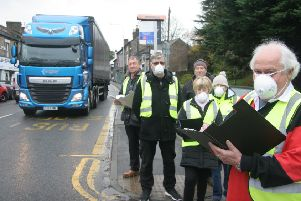 Disley residents protest againts the amount of traffic on the A6. Stuart Scoffins, Cllr Ron Bowden, Cllr Steve Birchall, Cllr Dave Lomax, Hilary Makepeace and Sue Boothby.