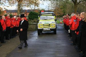 A guard of honour is formed at the funeral of former Kinder Mountain Rescue Team member Bob Whitall.