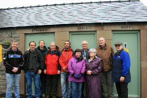 Councillors from Youlgrave Parish Council and residents at the opening of the new toilets.