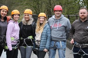 Taking on the abseil were, from left: Cheryl Morris, Katie Gardner, Laura McWha, Jess Breame, Tom Haigh and Andy Hollis.