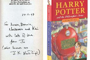 A first edition of Harry Potter and the Philosopher's Stone has sold for a world record 106,250.