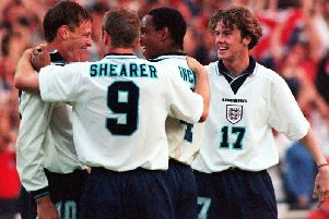 England celebrate scoring against Holland in 1996