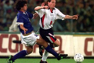 Paul Gascoigne in action against Italy in 1997
