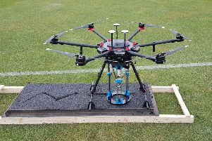 The drone system being tested