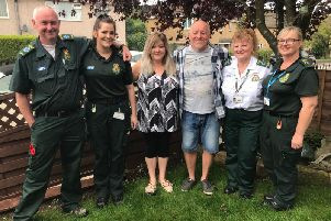 From left, Karl Bexon paramedic, Jessica Bate technican, Wendy Openshaw, Anthony Openshaw, Lesly Dudley 999 call handler and Louise Barlow paramedic were reunited after Anthony had a heart attack in April and he wanted to thank his lifesavers