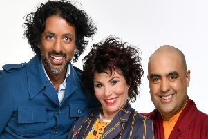 Ruby Wax with Ash Ranpura amd Gelong Thubten in new touring show Ruby Wax, The Monk and the Neuroscientist. Photo by Steve Ullathorne.