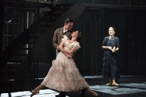 Abigail Prudames as Victoria, Joseph Taylor as Albert and Pippa Moore as Older Princess Beatrice in Victoria. Photo: Emma Kauldhar.