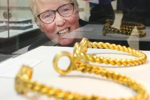 Ros Westwood MBE with some of the golden torcs. Photos: Jason Chadwick.