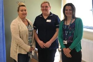Gemma Ellis, who uses the service at Arden House Medical Practice, with Natalie Hallard, Chemotherapy Sister with the Christie Hospital, and Rachael Preston, Contracts Manager for NHS England and NHS Improvement.