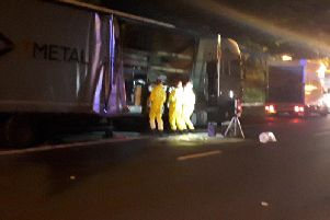 Chemicals removed from blaze-hit vehicle  on M1 this morning.