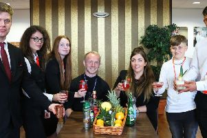 Students presenting some of the new cocktails they created