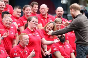 Prince Harry greets members of Team UK this week, ahead of next year's Invictus Games. (PHOTO BY: Chris Jackson/Getty Images)