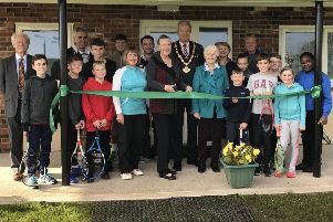 The opening ceremony for the new clubhouse at Mansfield Lawn Tennis Club, attended by Coun Kevin Rostance, chairman of the county council.
