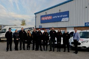 New car parts business opening soon at Old Mill Lane Industrial Estate, Mansfield Woodhouse, pictured are manager Ben Schofield and team