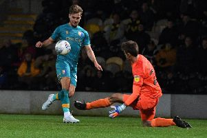 Picture: Andrew Roe/AHPIX LTD, Football, Leasing.com Trophy, Burton Albion v Mansfield Town, Pierlli Stadium, Burton-Upon-Trent, UK, 12/11/19, K.O 7.45pm''Mansfield's Danny Rose scores the opening goal'Howard Roe>07973739229