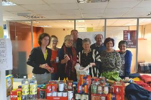 Shadow Minister Anneliese Dodds, far left,Councillor Sonya Ward, third from left, with volunteers.