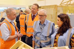 Jeremy Corbyn visits Vision West Nottinghamshire College's construction centre in Kirkby.