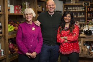 Alison Swan Parente, left, with Top of the Shop presenter Tom Kerridge and fellow food judge Nisha Katona.
